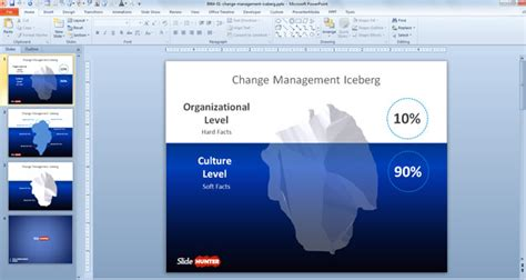 free change management iceberg template for powerpoint