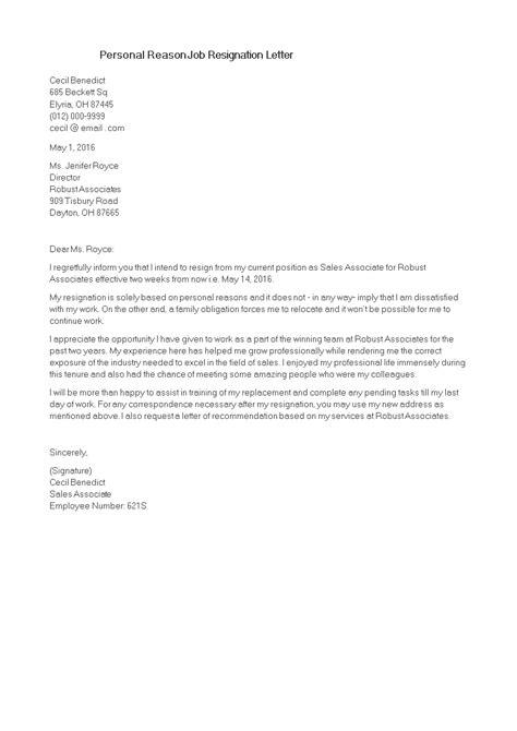 personal reason job resignation letter templates