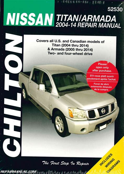 chilton 2004 2014 nissan titan 2005 2014 nissan armada truck repair manual
