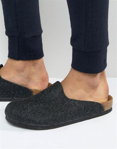 birkenstock felt house shoes birkenstock s amsterdam felt slippers in black for men lyst
