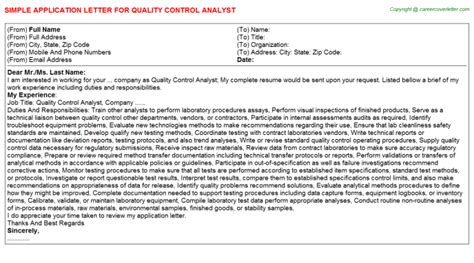 application letter quality analyst quality analyst duties free career docs