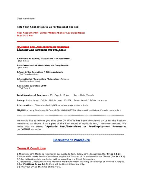 appointment letter format delhi reg accounts hr junior middle senior level