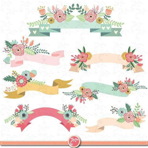 free printable vintage banner floral banners clipart pack quot floral banner quot clip art pack