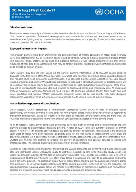 Situation Report Template Ocha Ocha Iraq Flash Update 1 Mosul Humanitarian Response