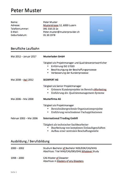 Lebenslauf Vorlage Schweiz Schnupperlehre Lebenslauf Muster Muster Und Vorlagen Kostenlos
