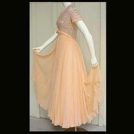 chagne silk gowns 1960s evening gown beaded silk chiffon rhinestones sz