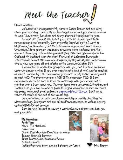 Introduction Letter For Kindergarten Welcome Letter To Parents From Search Preschool