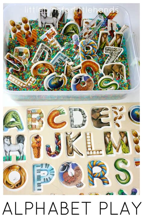 Letter Puzzles alphabet puzzle activity sensory play and rice sensory bin