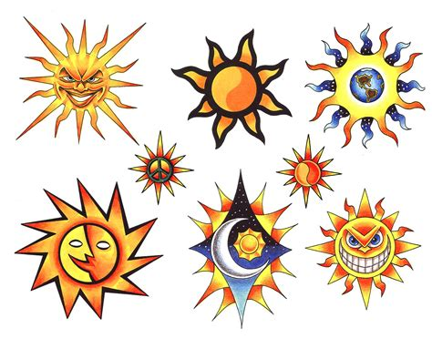 colorful sun tattoo designs sun images designs