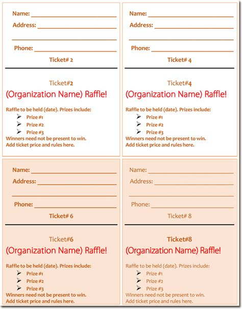 20 Free Raffle Ticket Templates With Automate Ticket Numbering Free Raffle Ticket Template