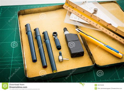 scale drawing tool cutting mats pen drawings adjust angle tool scale ruler royalty free stock photos