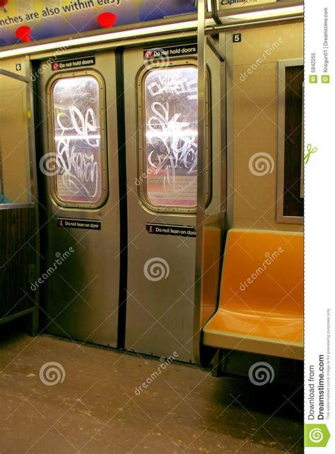 nyc subway doors royalty  stock photo image