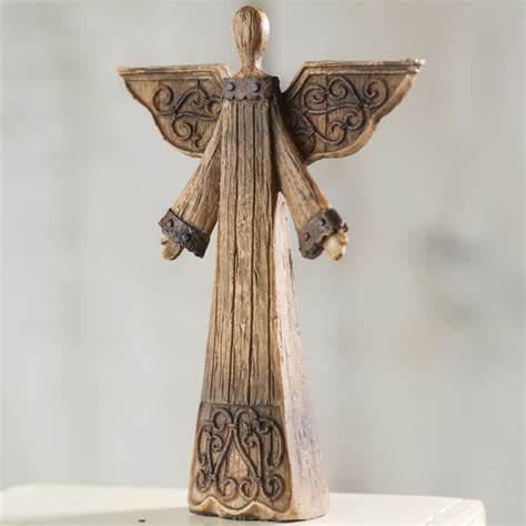 angel home decor rustic wood look angel table and shelf sitters home decor