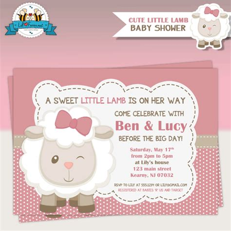 Sheep Baby Shower Invitations by Baby Shower Invitations Pink Sheep