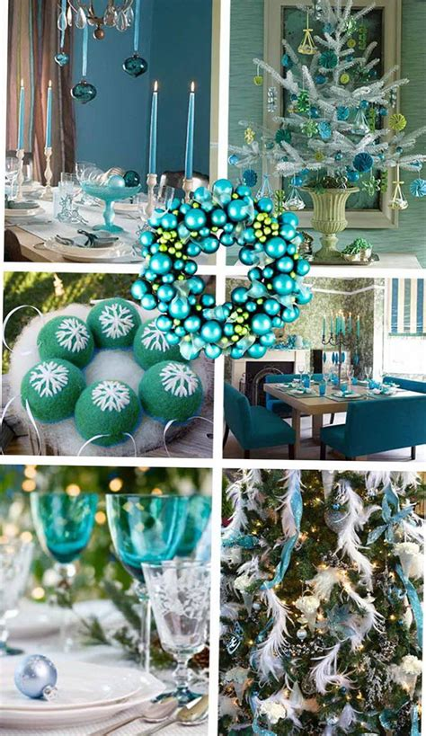 christmas decorations in blue interior home interior
