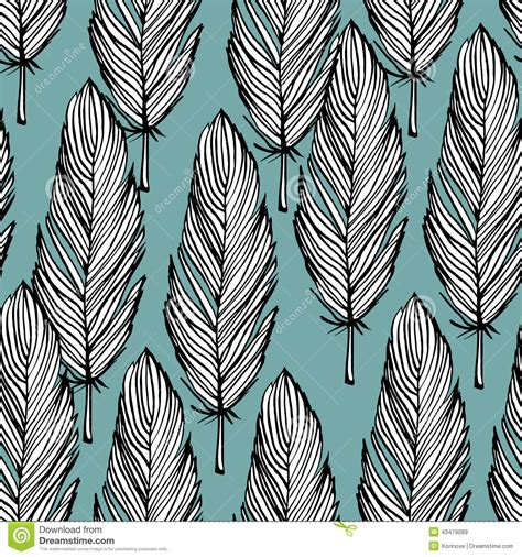 pattern background sketch blue and white feather seamless pattern stock vector