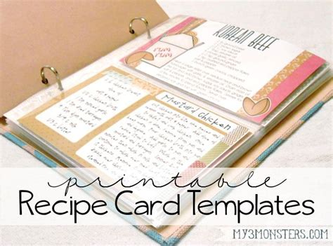 Recipe Card Decoration Template by Recipe Card Templates Printable Recipe Cards And Card