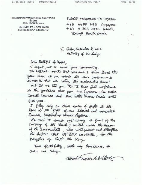 Confirmation Letter Là Gì No Rome Sspx Accord From Cfn Letter From Fr Couture Asia District Sspx Crusaders Of The