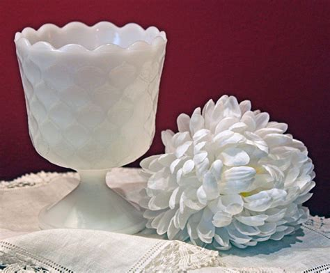 milk glass planter milk glass goblet or planter or vase with honeycomb pattern