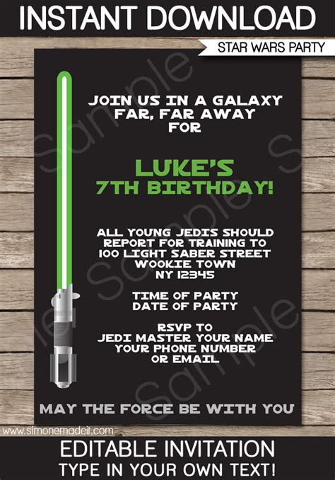 template wars 9 best images of wars birthday invitation