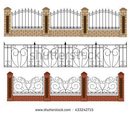different gate design fence vector illustration brick fence wood stock vector 433242715