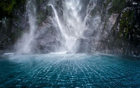 blue wallpaper nz waterfall cliff blue water wallpapers waterfall cliff
