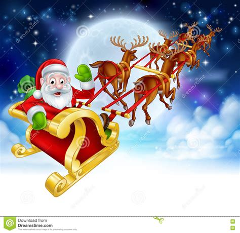 animated photos of christmas santa claus with reindeer santa reindeer sleigh stock vector image 76037232