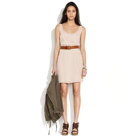 pleated swing dress madewell pleated swing dress in pink plaster lyst