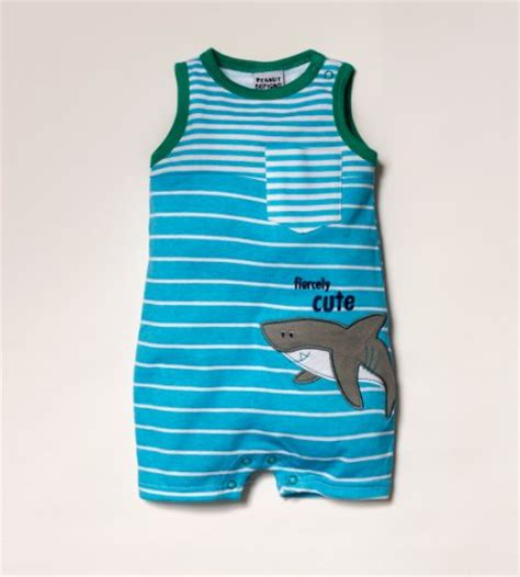 Romper Baby Shark peanut buttons baby boys infant boy shark romper