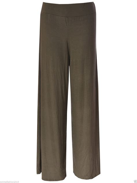 Plain Wide Leg Jumper womens plus size plain palazzo trousers wide leg