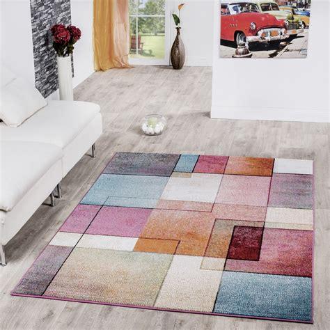 moderne teppiche teppich karo multicolour bunt kurzflor designer model top