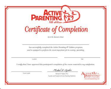 Participant Completion Certificates Active Parenting 4th Edition Certificates Of Completion Parenting Class Certificate Of Completion Template