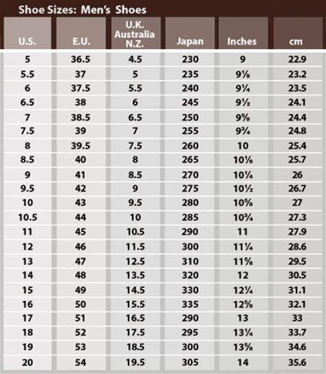 shoe size chart male size chart bonfire vintage
