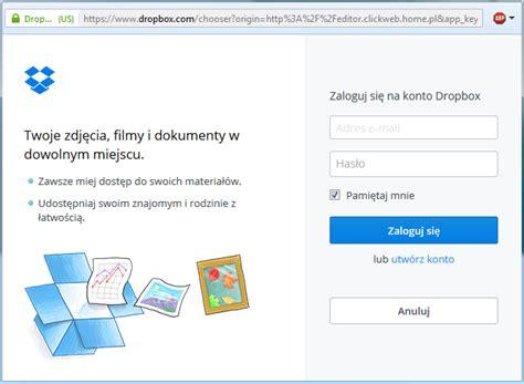 dropbox zaloguj wstawianie pliku do pobrania w click web moduł dropbox
