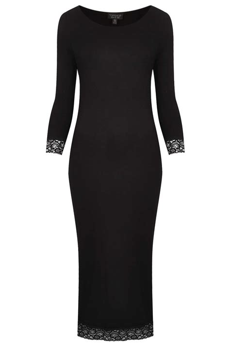 Plain Lace Midi Dress topshop lace trim plain midi dress in black lyst
