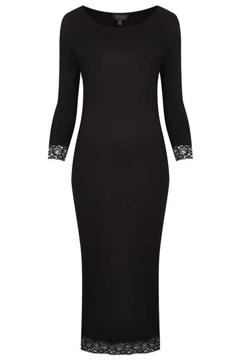 topshop lace trim plain midi dress  black lyst