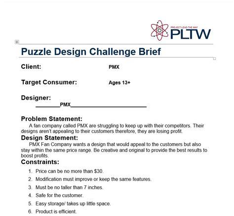vce design brief exle reverse engineering pmx fan pltw engineering