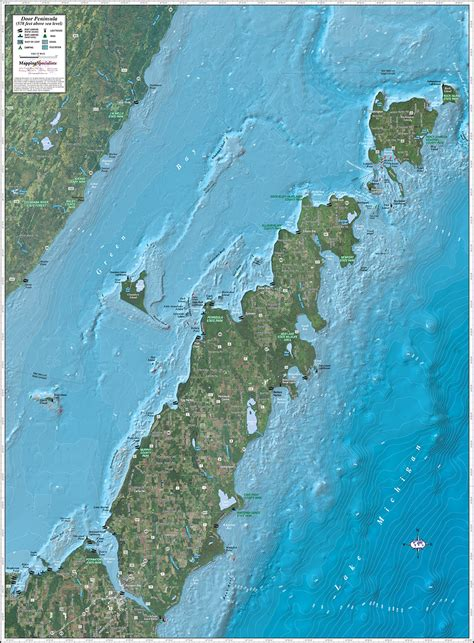 door peninsula enhanced wall map