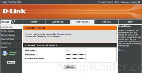 Dlink DSL-3780 Screenshots D'link Router Password Setup