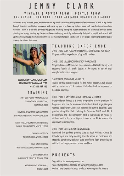 sle resumes for yoga instructor new yoga teacher resume sle yoga pinterest