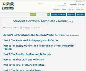 Student Portfolio Template Remix Oer Commons Student Portfolio Template