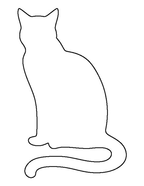black cat template printable sitting cat pattern use the printable outline for crafts