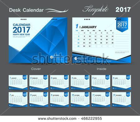 table calendar design layout set blue desk calendar 2017 template stock vector