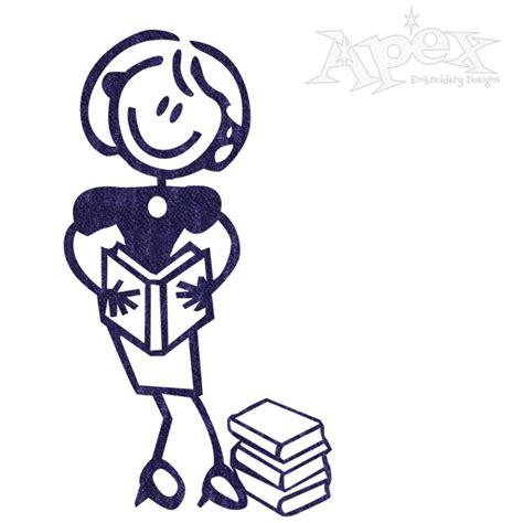 embroidery design reader reader book girl stick figure embroidery design
