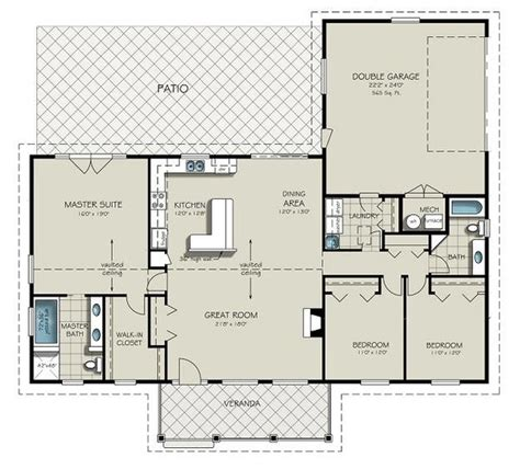 garage floor plans with bathroom ranch style house plan 3 beds 2 baths 1924 sq ft plan 427 6