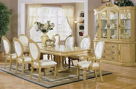 antique white finish stylish dining room set with carved