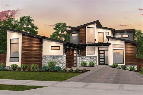 angular modern house plan  master  main ms