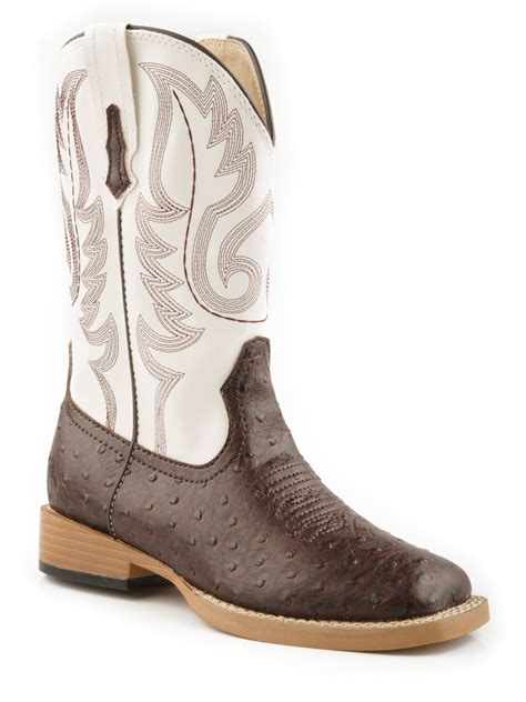boys cowboy boots roper boys square toe brown faux ostrich leather