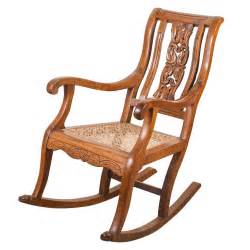 Papa Bear Armchair Indo Portuguese Teak Rocking Chair With Caned Seat At 1stdibs