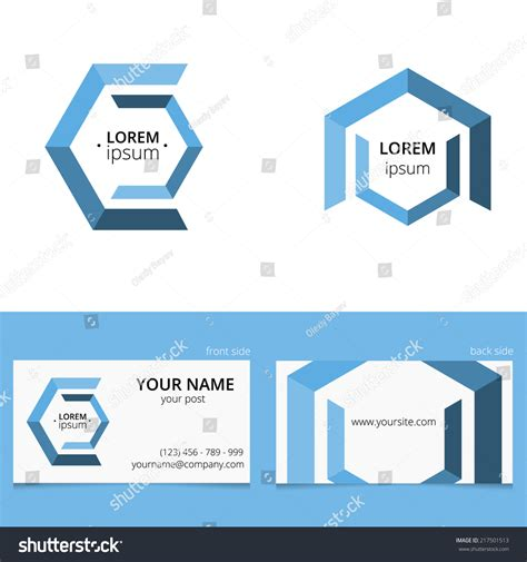 hex hex card template hex logo template with place for text and design for two